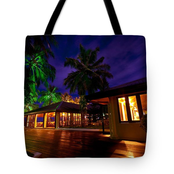 Night Lights At The Resort Tote Bag by Jenny Rainbow