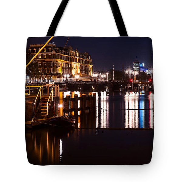 Night Lights On The Amsterdam Canals 2. Holland Tote Bag by Jenny Rainbow
