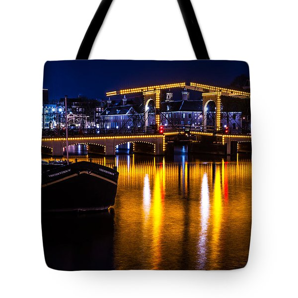 Night Lights On The Amsterdam Canals 3. Holland Tote Bag by Jenny Rainbow