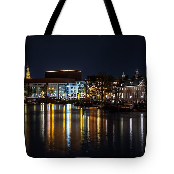 Night Lights On The Amsterdam Canals 6. Holland Tote Bag by Jenny Rainbow