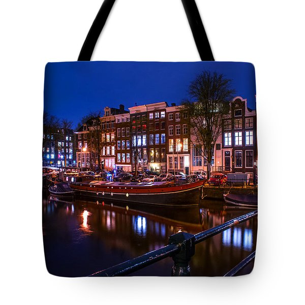 Night Lights On The Amsterdam Canals. Holland Tote Bag by Jenny Rainbow