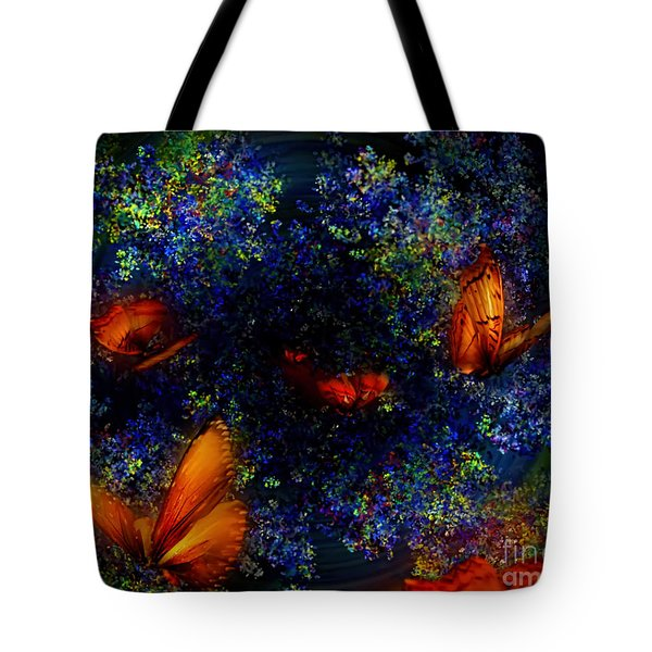 Tote Bag featuring the digital art Night Of The Butterflies by Olga Hamilton