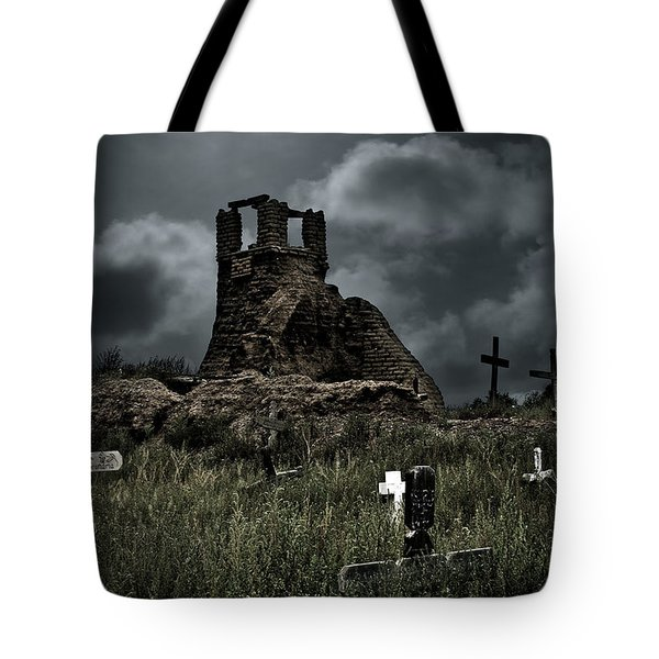Night Over Taos Pueblo New Mexico Tote Bag by Christine Till