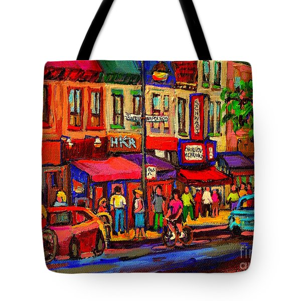 Night Riders On The Boulevard Rue St Laurent And Napoleon Deli Schwartz Montreal Midnight City Scene Tote Bag by Carole Spandau