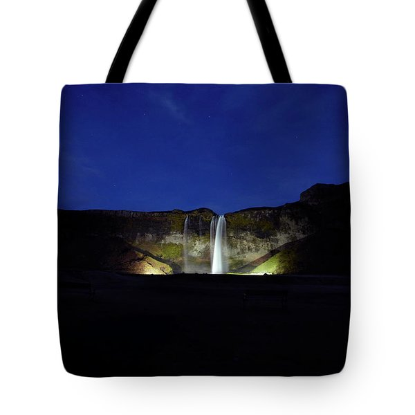 Night Shot Of Seljalandsfoss Tote Bag