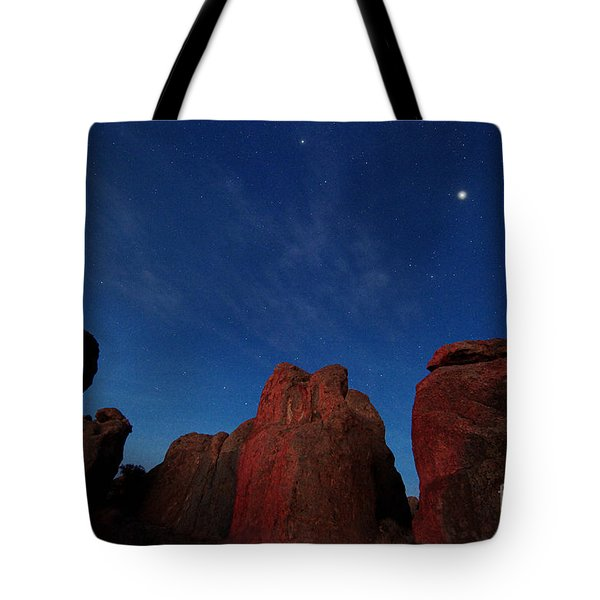 Tote Bag featuring the photograph Night Sky City Of Rocks by Martin Konopacki