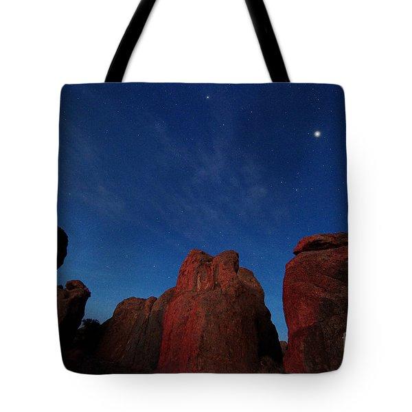 Night Sky City Of Rocks Tote Bag