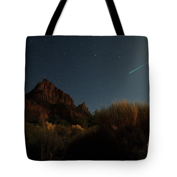Tote Bag featuring the photograph Night Sky Over Zion by Angelique Olin