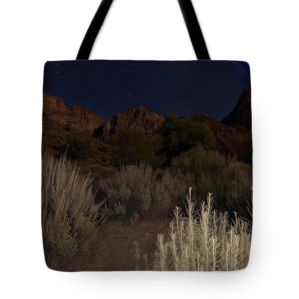 Tote Bag featuring the photograph Night Sky Over Zion II by Angelique Olin