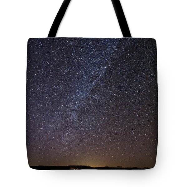 Night Sky Reflected In Lake Tote Bag