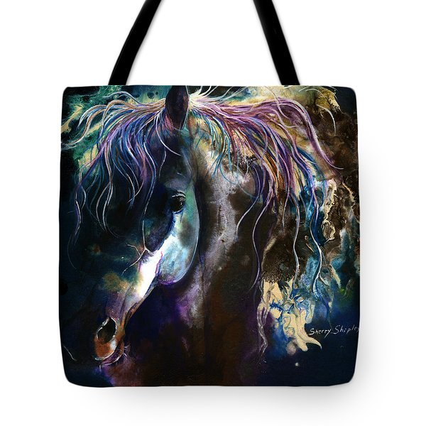 Tote Bag featuring the painting Night Stallion by Sherry Shipley