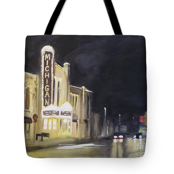 Night Time At Michigan Theater - Ann Arbor Mi Tote Bag by Yoshiko Mishina
