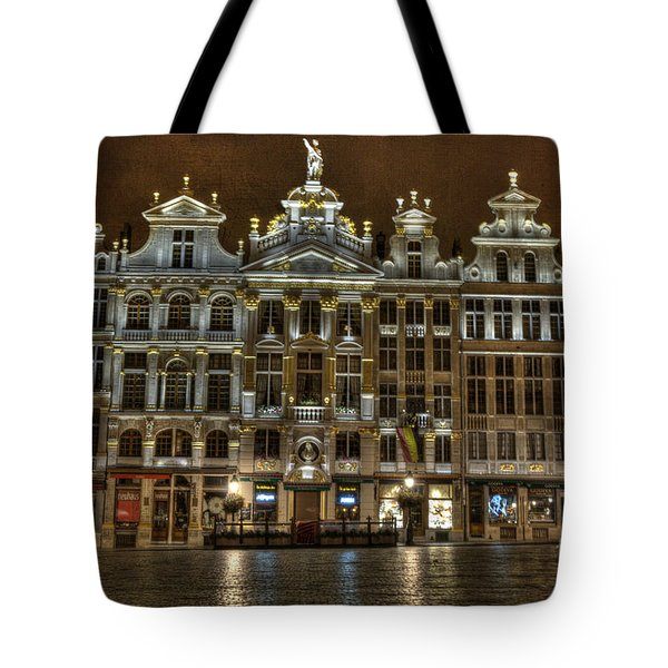 Night Time In Grand Place Tote Bag