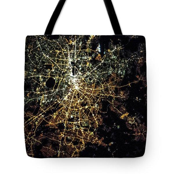 Night Time Satellite Image Of Berlin Tote Bag