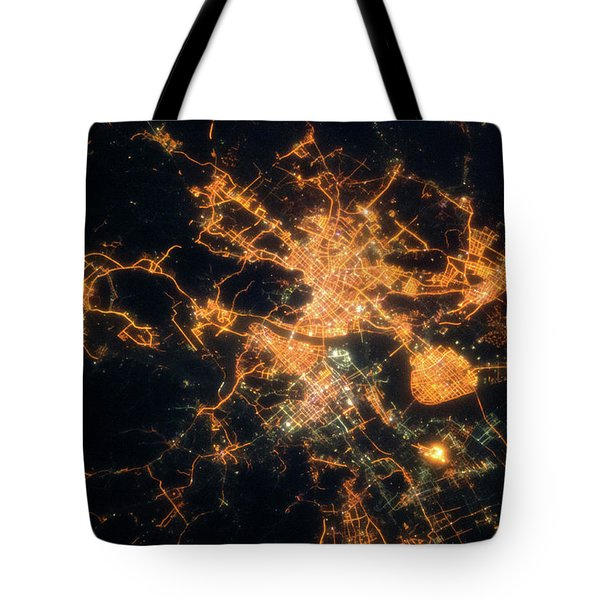 Night Time Satellite View Of Hangzhou Tote Bag
