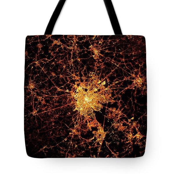 Night Time Satellite View Of Paris Tote Bag