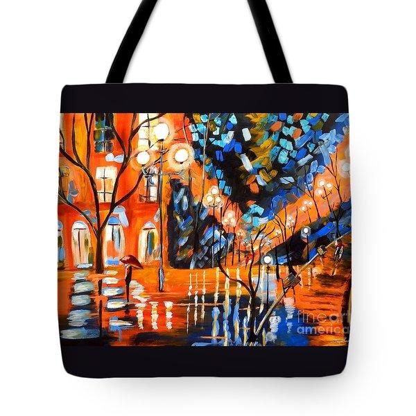Night Village Rain Tote Bag