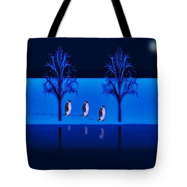 Night Walk Of The Penguins Tote Bag by David Dehner