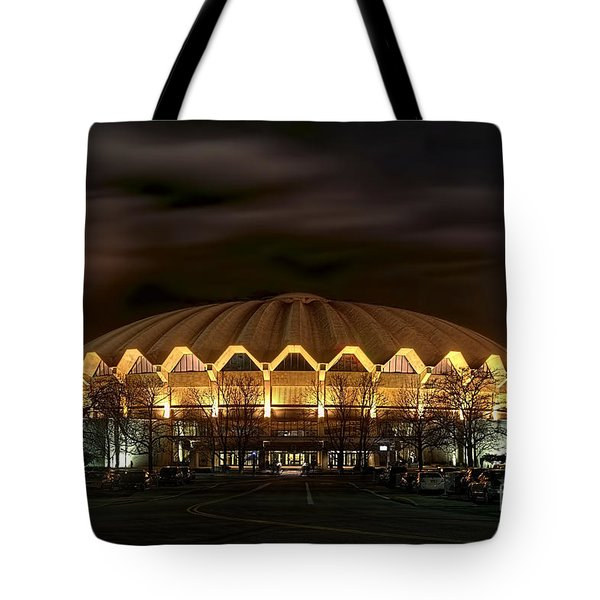 night WVU basketball Coliseum arena in Tote Bag