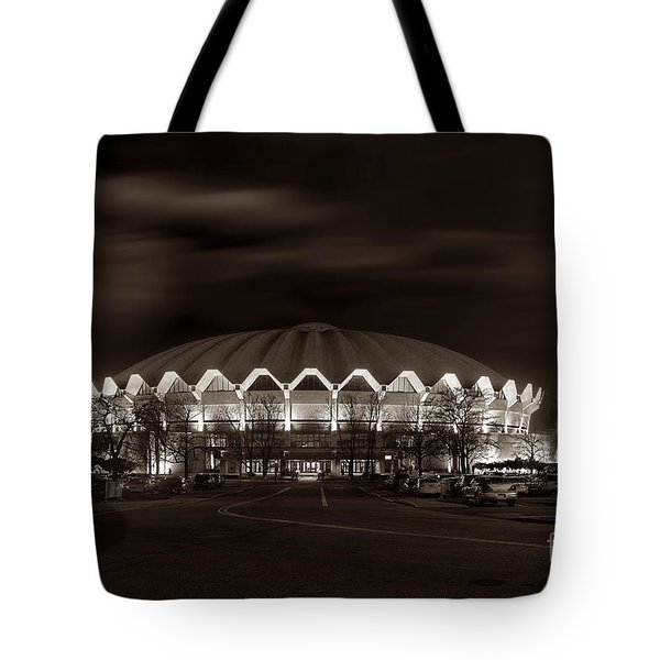 night WVU Coliseum basketball arena Tote Bag by Dan Friend