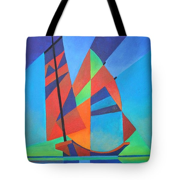Tote Bag featuring the painting Nightboat by Tracey Harrington-Simpson