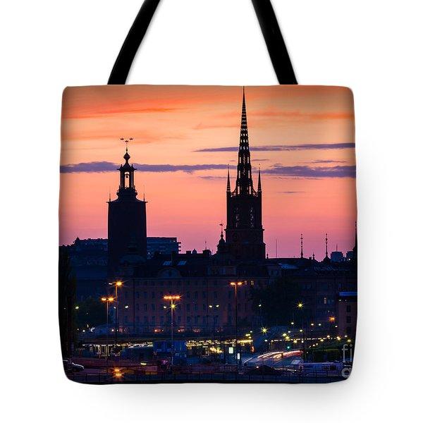Nightsky Over Stockholm Tote Bag by Inge Johnsson