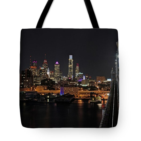 Nighttime Philly From The Ben Franklin Tote Bag