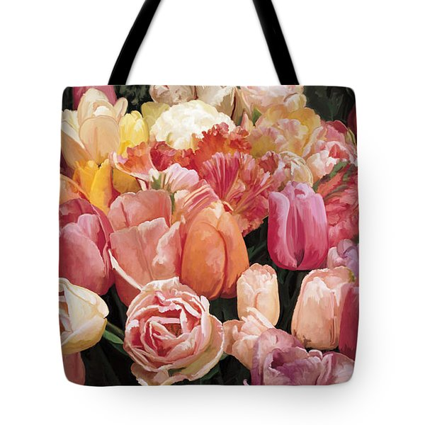 Tote Bag featuring the painting Nikki's Tulips by Tim Gilliland