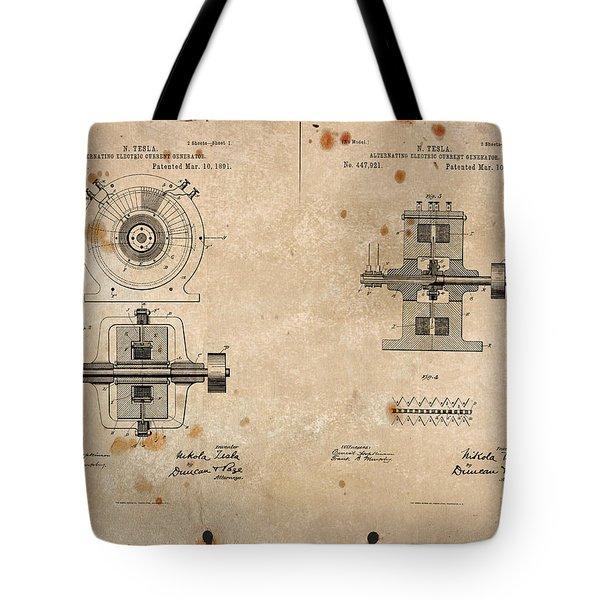 Nikola Tesla's Alternating Current Generator Patent 1891 Tote Bag by Paulette B Wright