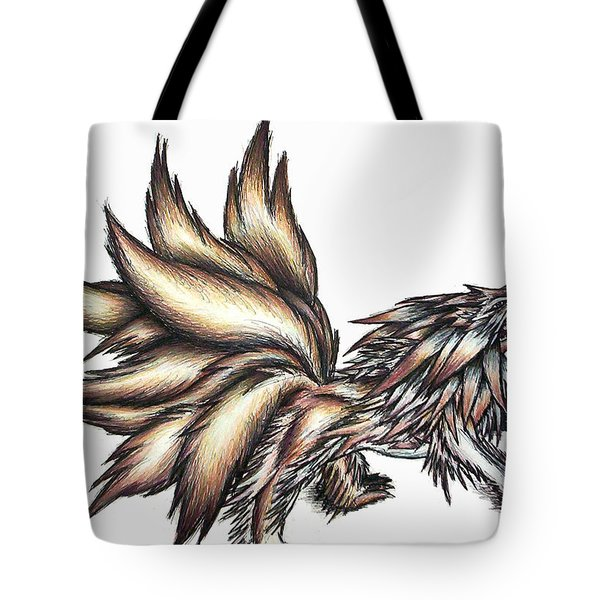 Tote Bag featuring the painting Nine Tails Wolf Demon by Shawn Dall