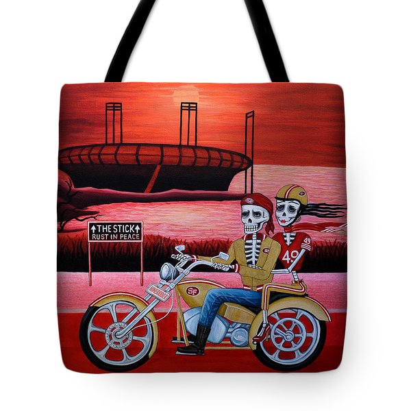 Tote Bag featuring the painting Ninerrider by Evangelina Portillo