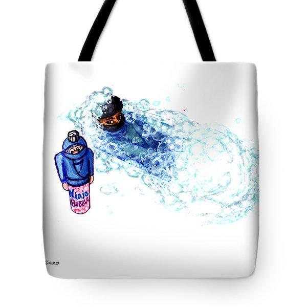 Ninja Stealth Disappears Into Bubble Bath Tote Bag by Del Gaizo