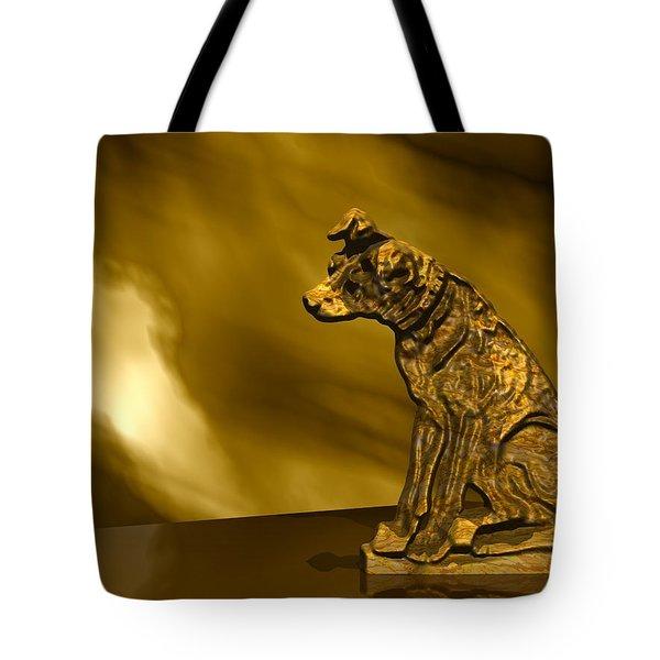 Nipper In Bronze Tote Bag by John Pangia