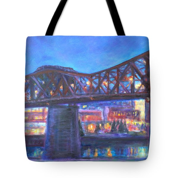 City At Night Downtown Evening Scene Original Contemporary Painting For Sale Tote Bag