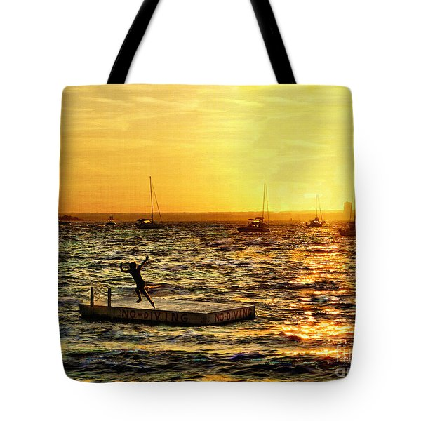 No Diving Tote Bag by Jeff Breiman