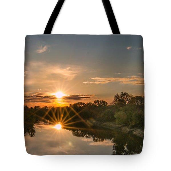 Mississippi Sunset Double Starburst Tote Bag