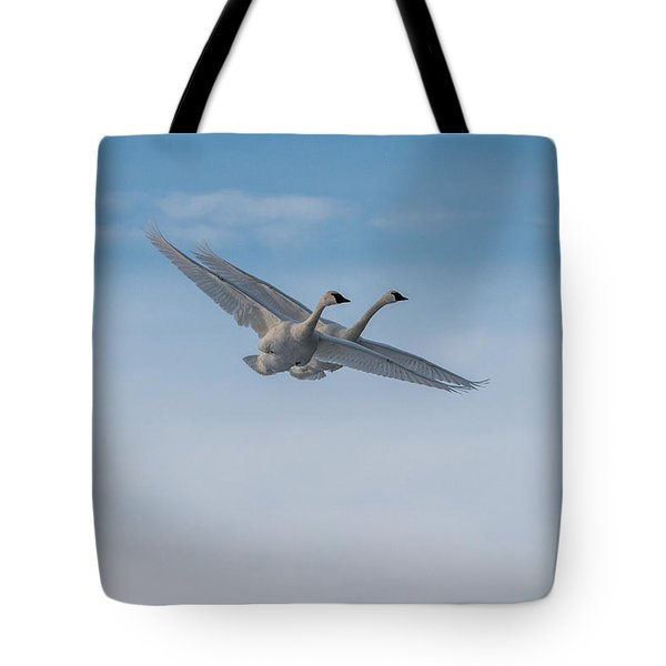 Tote Bag featuring the photograph Trumpeter Swan Tandem Flight I by Patti Deters