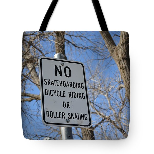 No Skating Tote Bag