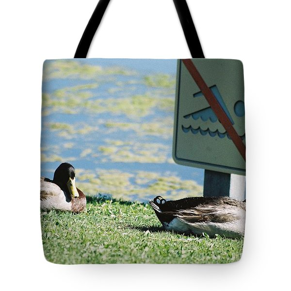 Tote Bag featuring the photograph No Swimming by Kerri Mortenson
