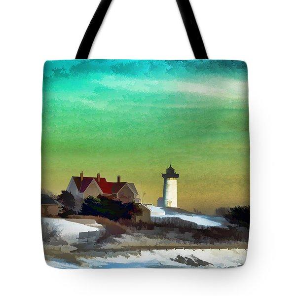 Nobska Lighhouse In Winter Tote Bag