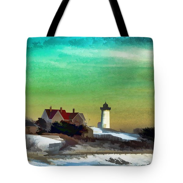 Nobska Lighhouse In Winter Tote Bag