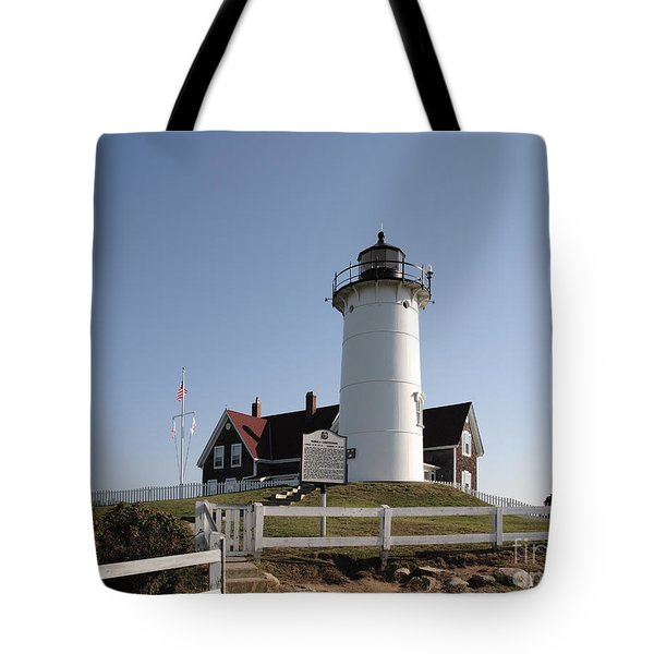 Nobska Lighthouse On Cape Cod At Woods Hole Massachusetts Tote Bag
