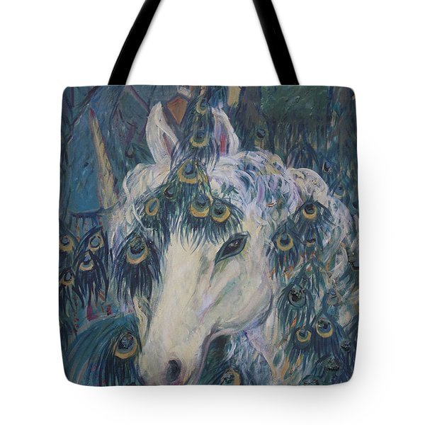 Tote Bag featuring the painting Nola's Unicorn by Avonelle Kelsey