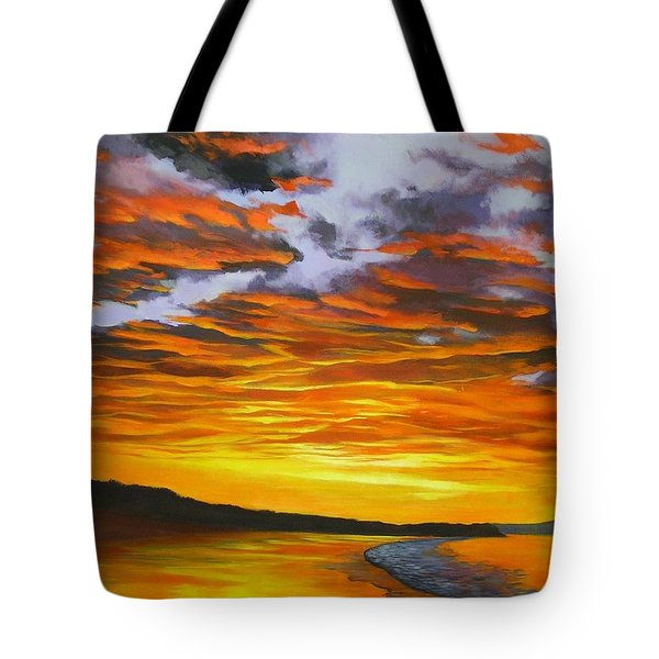 Tote Bag featuring the painting Noosa Sunset by Chris Hobel