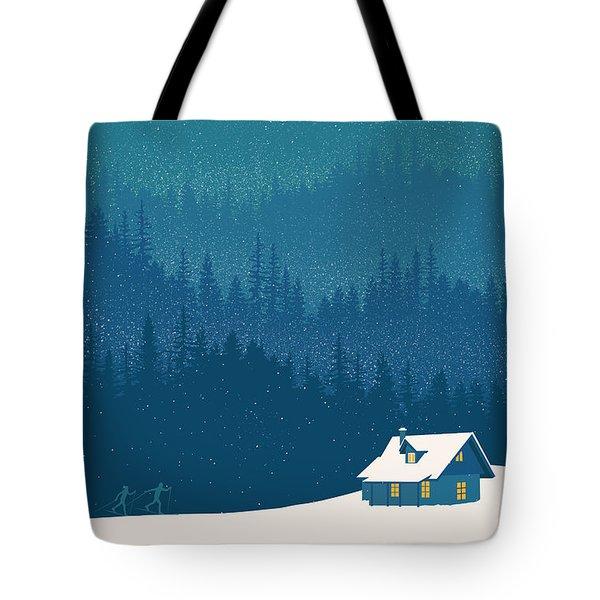 Nordic Ski Scene Tote Bag