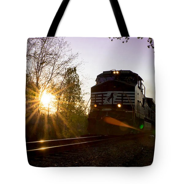 Norfolk And Southern At Sunset Tote Bag