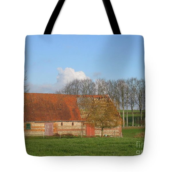Tote Bag featuring the photograph Normandy Storm Damaged Barn by HEVi FineArt