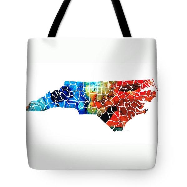 North Carolina - Colorful Wall Map By Sharon Cummings Tote Bag by Sharon Cummings