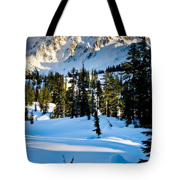 North Cascades Winter Tote Bag by Inge Johnsson