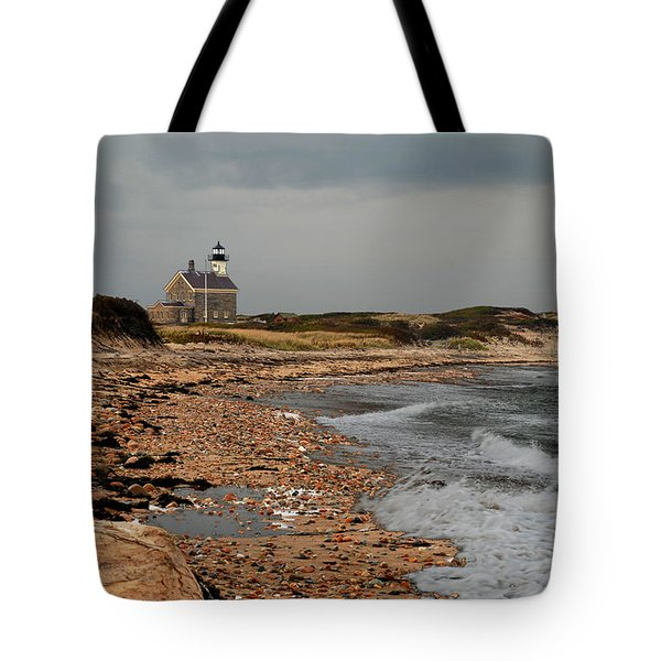Tote Bag featuring the photograph North Light Block Island by Nancy De Flon